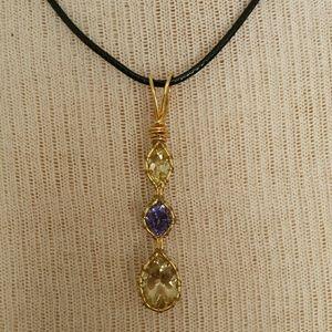 byZoli pendant in lemon qtz, tanzanite